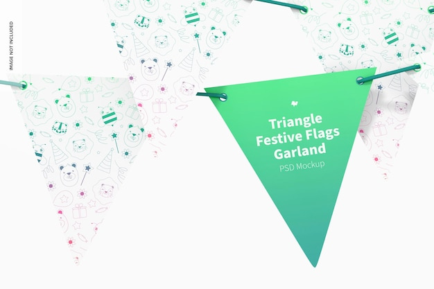 Triangle festive flags garland mockup, front view
