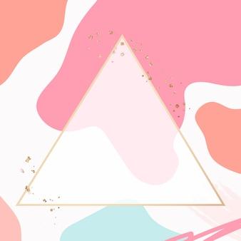 Cornice dorata triangolo psd in stile memphis rosa pastello