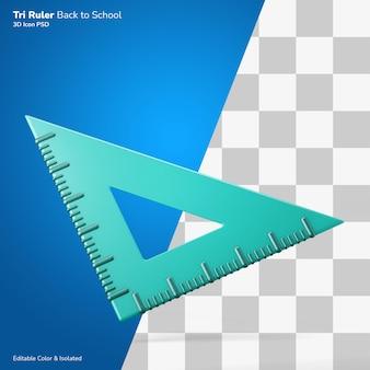 Треугольник линейка 3d рендеринг значок редактируемый изолированный