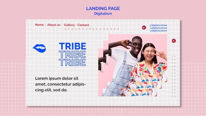 部族の男性と女性のデジタル主義のランディングページ