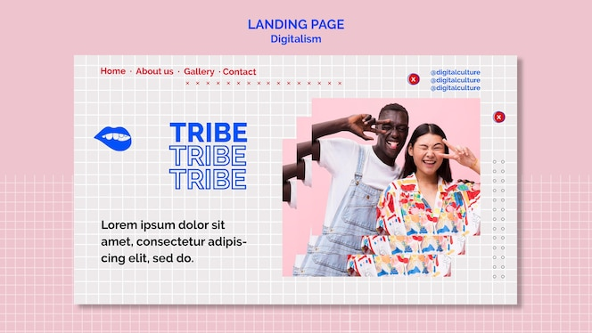 Tribe man and woman digitalism landing page