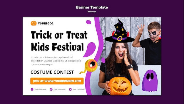 Trick or treat festival banner template
