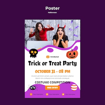 Trick or treat party poster template design