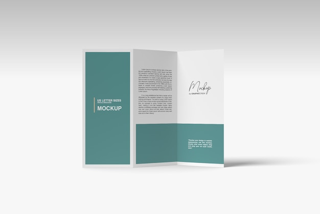 Trifold brochrue mockup standing sytle