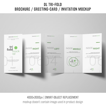 Trifold brochure or invitation mockup concept