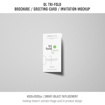 Trifold brochure or invitation mockup on grey background