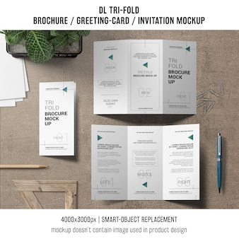 Trifold brochure or invitation mockup still life concept