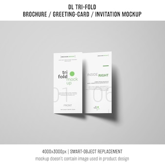Trifold brochure or invitation mockup with shadows