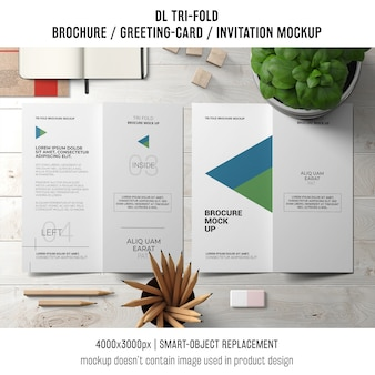 Trifold brochure or invitation mockup with still life concept