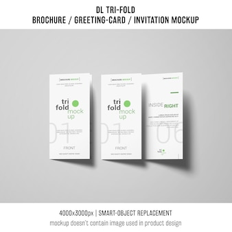 Trifold brochure or invitation mockup