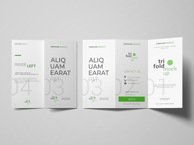 Trifold brochure or invitation mockups