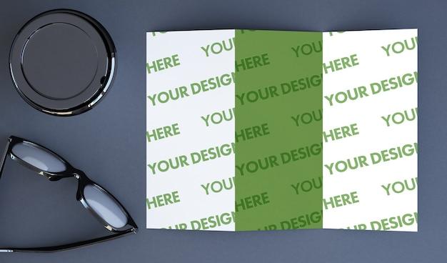 Trifold brochure mockup 3d rendering