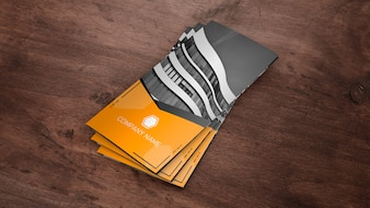 Trifold brochure mockup as stack