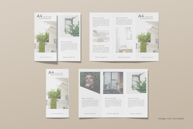 Trifold brochure mockup design set on top view