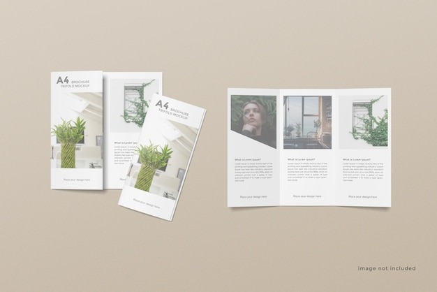 Trifold brochure mockup design on top view
