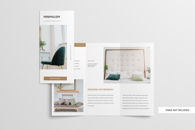 Trifold brochure mockup isolated