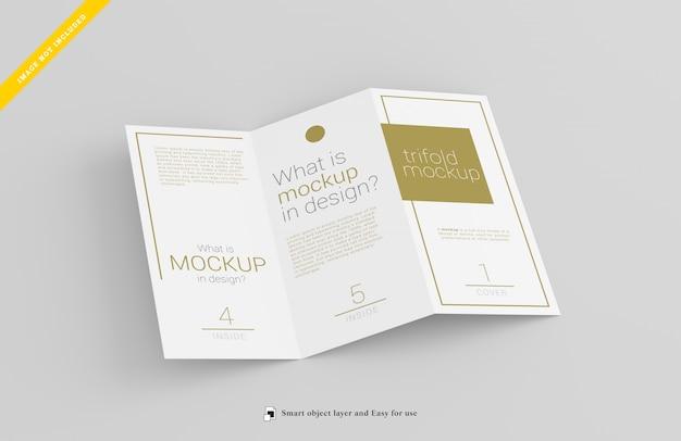 Trifold brochure mockup, template psd.