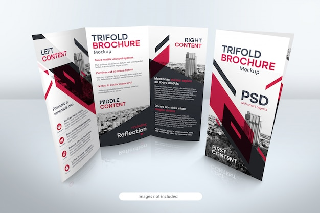 Trifold brochure mockup with reflection