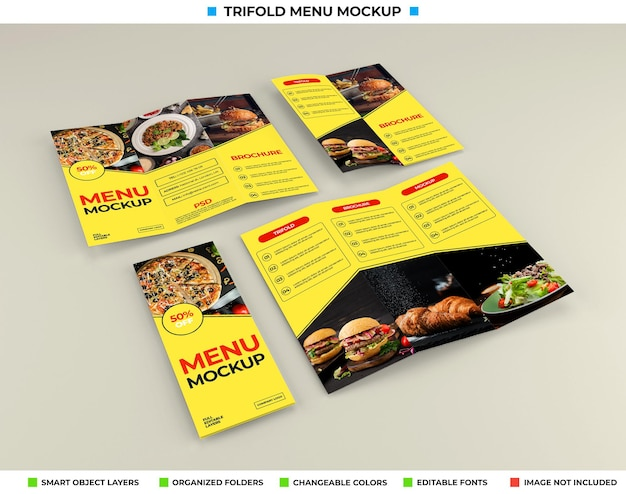 Trifold brochure mockup with restaurant concept