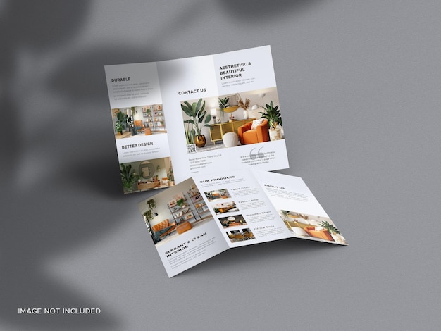 Trifold brochure mockup with shadow overlay