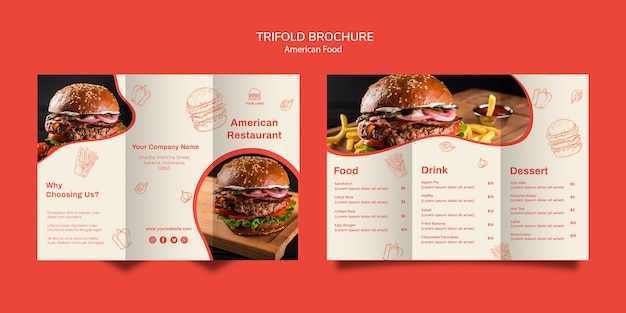 Trifold brochure template for burger restaurant