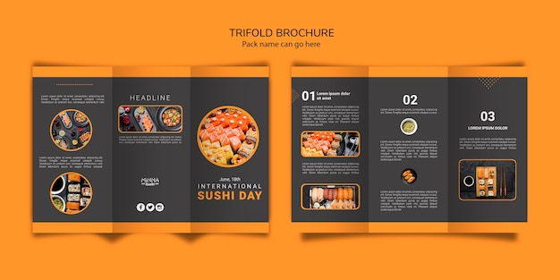 Trifold brochure template for international sushi day