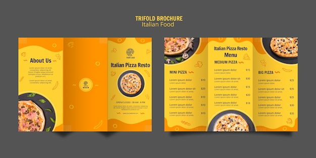 Trifold brochure template for italian food bistro