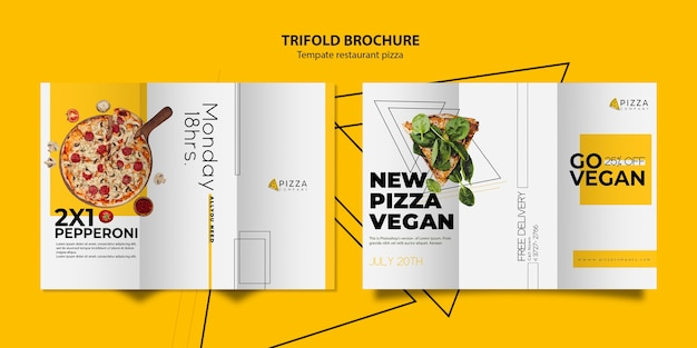 Trifold brochure template for pizza restaurant