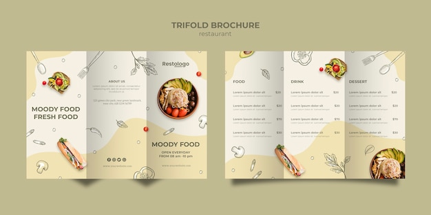Trifold brochure template for restaurant