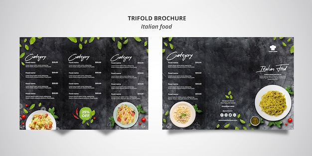 Trifold brochure template for traditional italian food restaurant