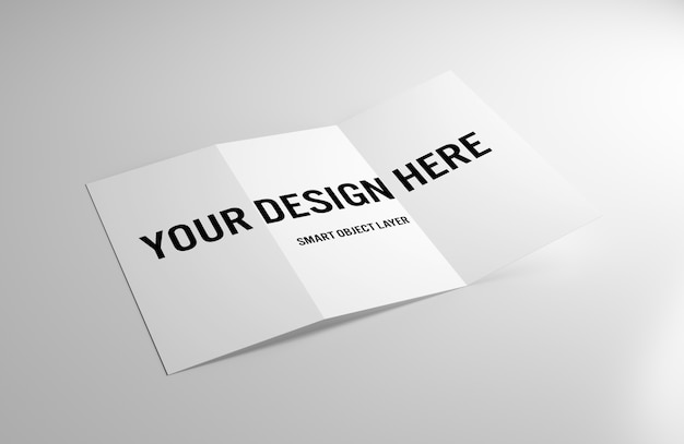 Trifold brochure on whitetable mockup