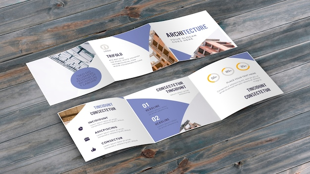 Trifold business brochure mockup