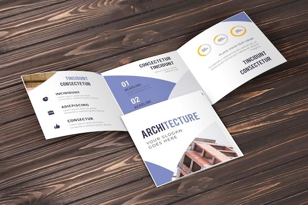 Trifold business brochure mockup