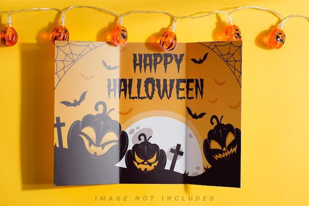Trifold halloween mock-up paper brochure
