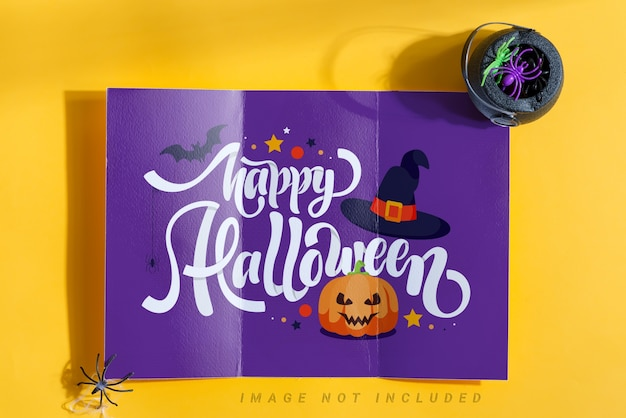 Trifold halloween mock-up paper brochure