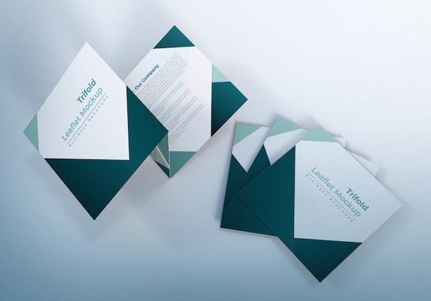 Шаблон оформления бизнес-брошюры trifold leaflet mockup