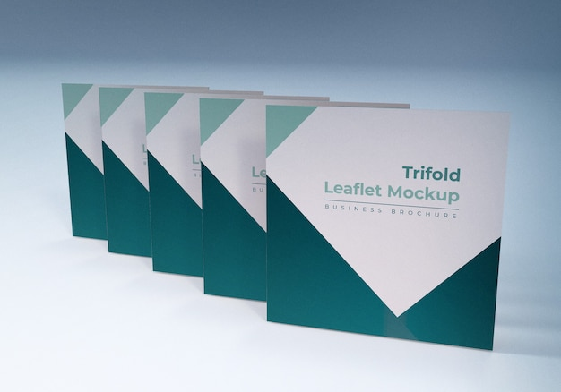 Trifold leaflet mockups business brochure design template