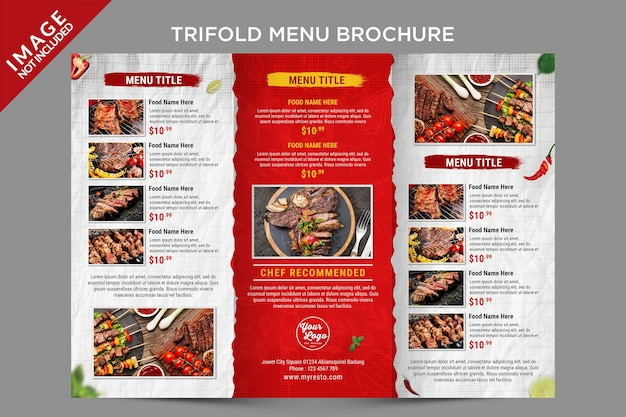 A trifold menu brochure inside