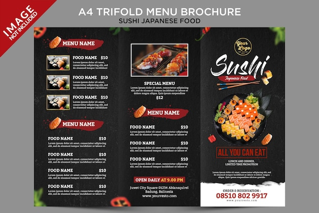 Trifold menu brochure sushi japanese food outside template