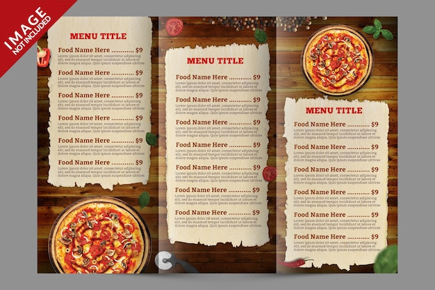 Trifold menu brochure template