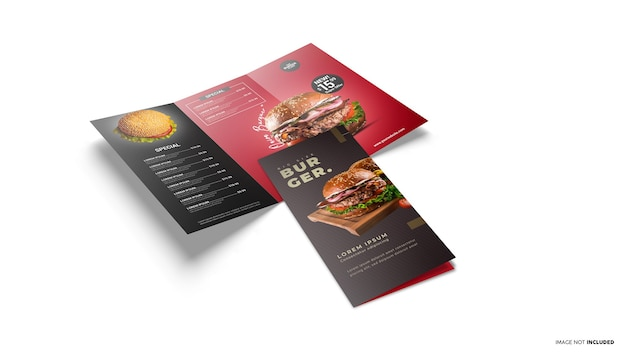 Trifold open and closed brochure scene