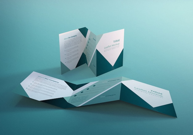 Дизайн мокапа брошюры trifold square