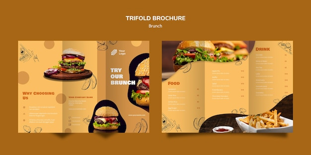 Шаблон брошюры trifold для позднего завтрака