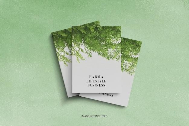 Triple cover brochure or magazine mockup