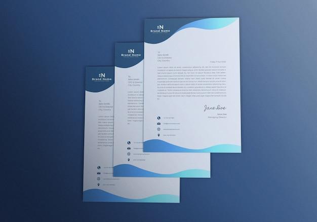 Triple realistic letterhead mockup