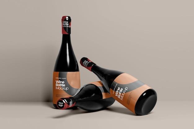 Перспективный вид мокапа тройной бутылки вина