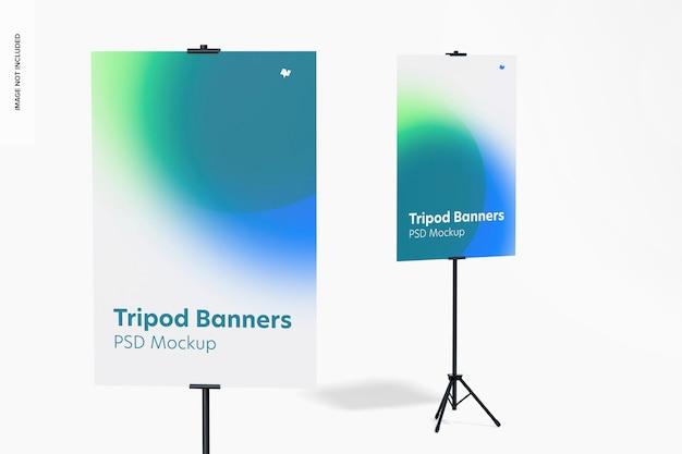 Tripod banner mockup, close up