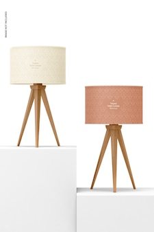 Tripod table lamps mockup, front view
