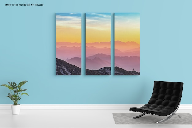 Triptych wall canvas mockup