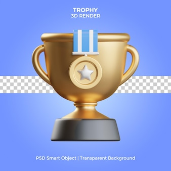Trophy 3d render isolated premium psd